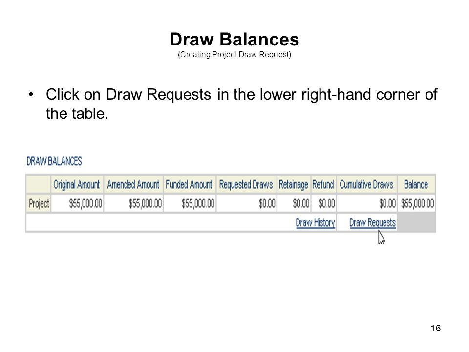 16 Draw Balances (Creating Project Draw Request) Click on Draw Requests in the lower right-hand corner of the table.
