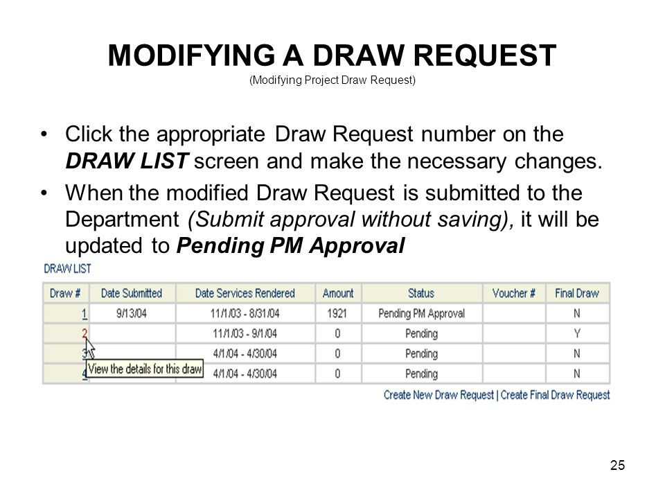 25 MODIFYING A DRAW REQUEST (Modifying Project Draw Request) Click the appropriate Draw Request number on the DRAW LIST screen and make the necessary changes.