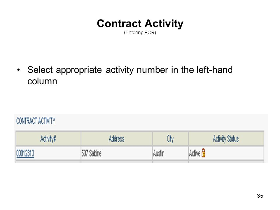 35 Contract Activity (Entering PCR) Select appropriate activity number in the left-hand column