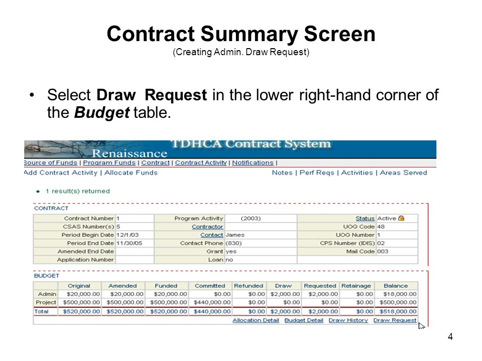 4 Contract Summary Screen (Creating Admin.