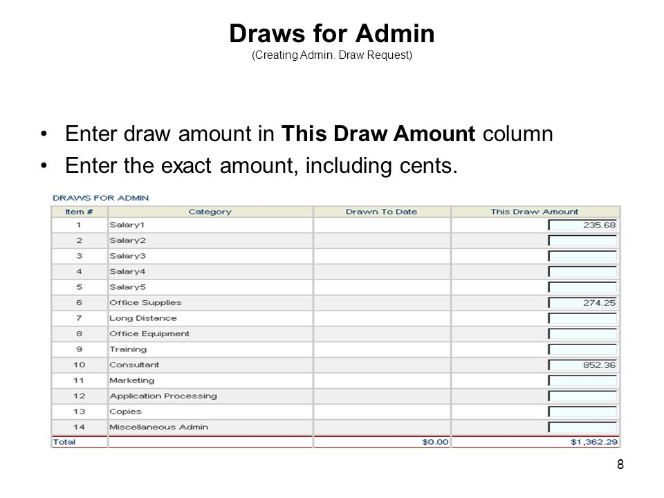 19 Draws for Project (Creating Project Draw Request) Enter amount in This Draw Amount column.