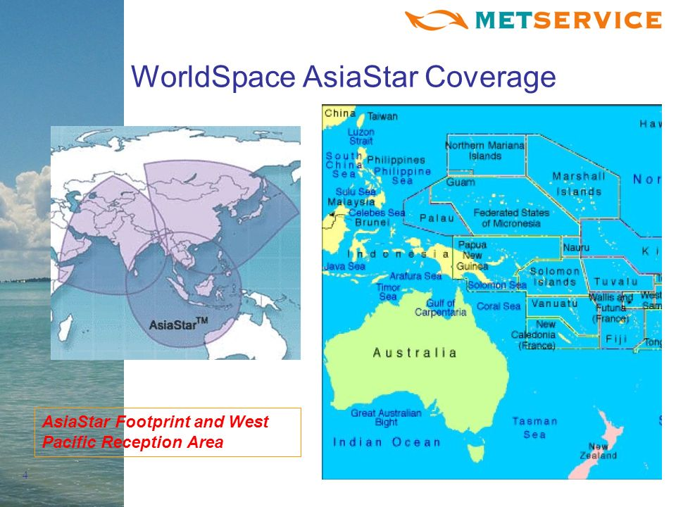 4 WorldSpace AsiaStar Coverage AsiaStar Footprint and West Pacific Reception Area