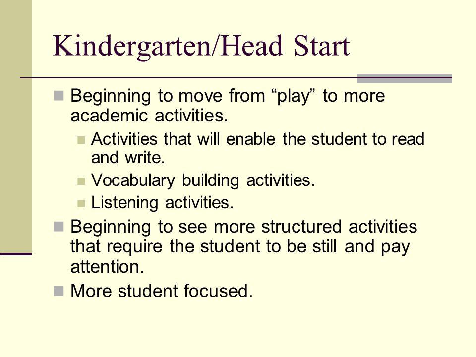 Kindergarten/Head Start Beginning to move from play to more academic activities.