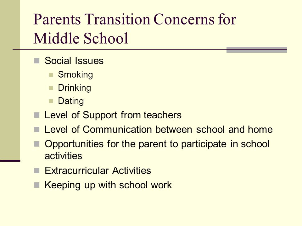 Parents Transition Concerns for Middle School Social Issues Smoking Drinking Dating Level of Support from teachers Level of Communication between school and home Opportunities for the parent to participate in school activities Extracurricular Activities Keeping up with school work