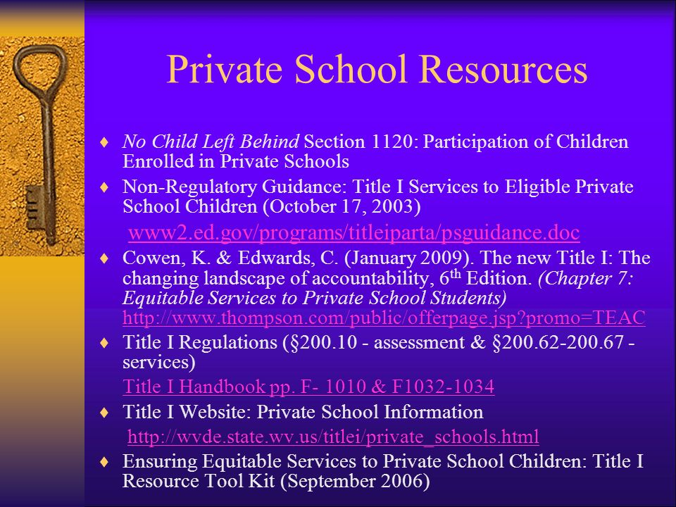 Overview of Session Timely and Meaningful Consultation Parental Involvement & Professional Development Requirements Equitable Funding for Students Allocation for Private School Students Eligible Students Program Design & Service Delivery Staff Qualifications Assessment/Accountability Complaint Process