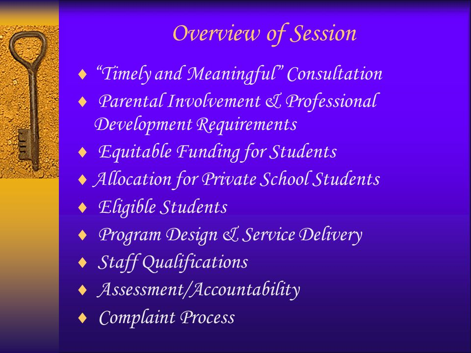 Timely & Meaningful Consultation True or False: The private school makes the final decisions with respect to Title I services that are provided to eligible private school students.