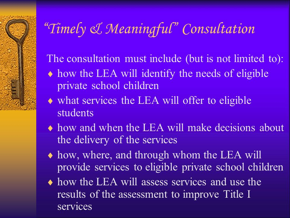 Timely & Meaningful Consultation The consultation must include (but is not limited to): The size and scope of equitable services the LEA will provide The proportion of funds the LEA will allocate for these services The source(s) of poverty data the LEA will use to determine eligible private school students Equitable services the LEA will provide to teachers and families of participating private school students