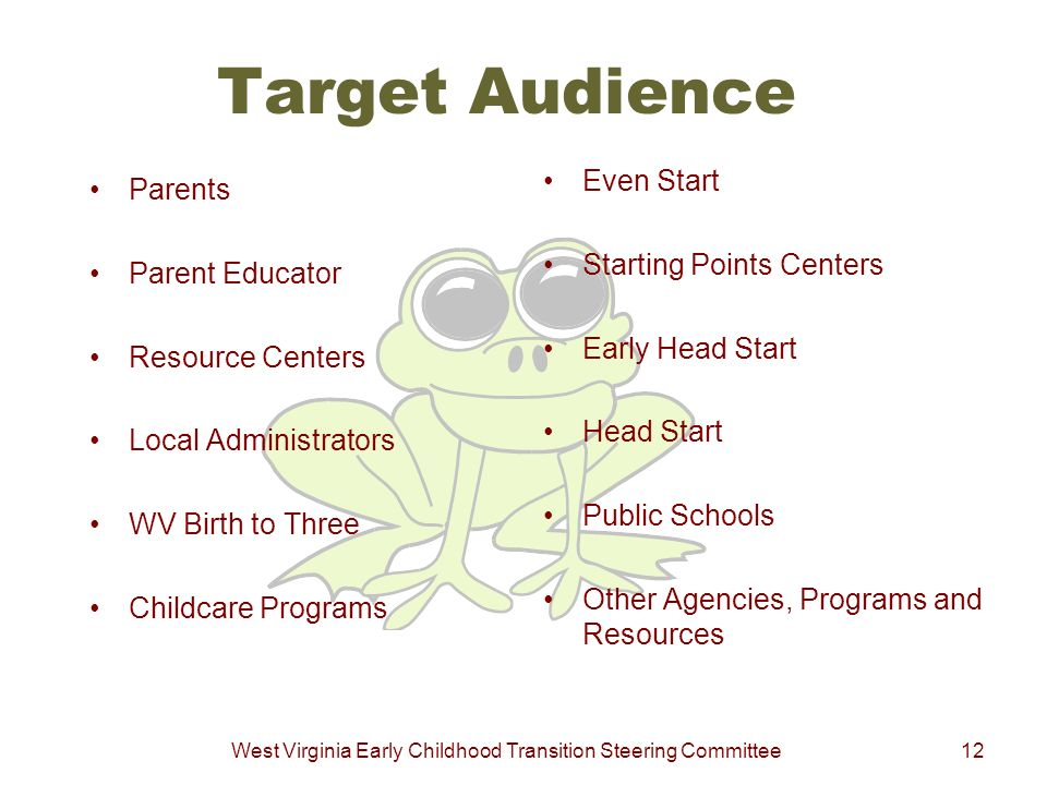 West Virginia Early Childhood Transition Steering Committee12 Target Audience Parents Parent Educator Resource Centers Local Administrators WV Birth t