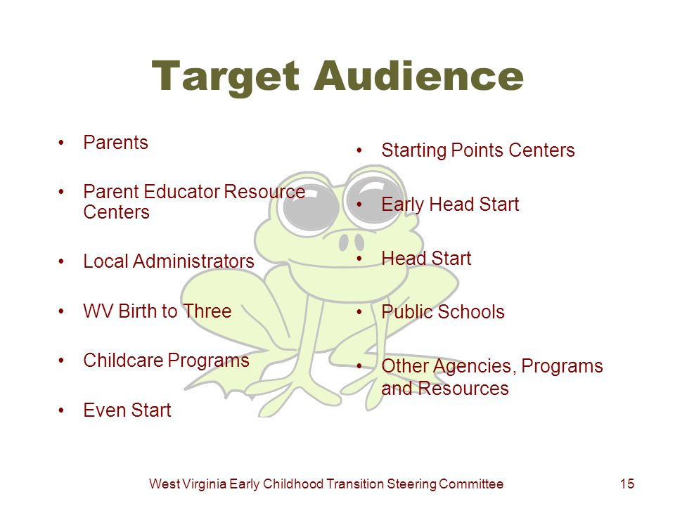 West Virginia Early Childhood Transition Steering Committee15 Target Audience Parents Parent Educator Resource Centers Local Administrators WV Birth t