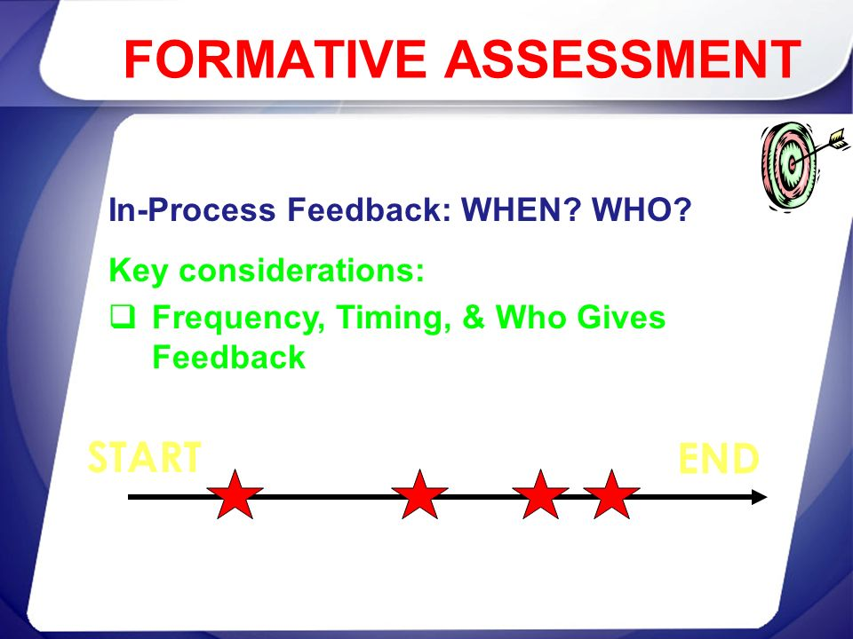 In-Process Feedback: WHEN? WHO? Key considerations: Frequency, Timing, & Who Gives Feedback START END FORMATIVE ASSESSMENT