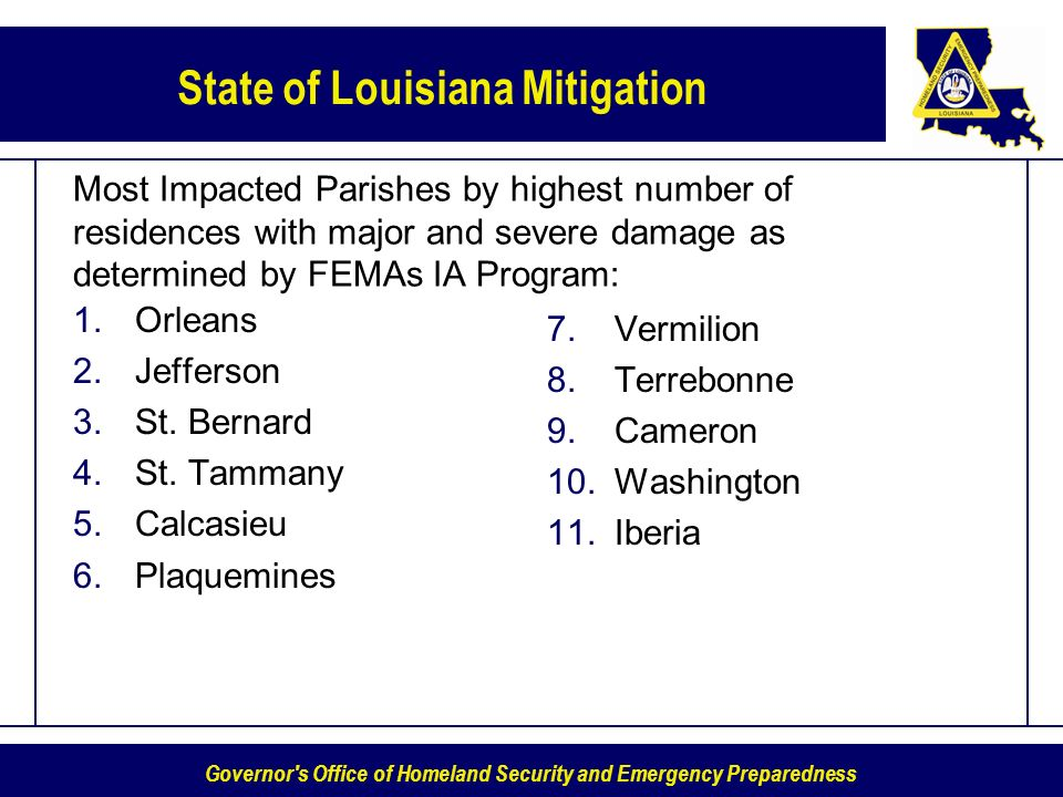 Governor s Office of Homeland Security and Emergency Preparedness State of Louisiana Mitigation Most Impacted Parishes by highest number of residences with major and severe damage as determined by FEMAs IA Program: 1.Orleans 2.Jefferson 3.St.