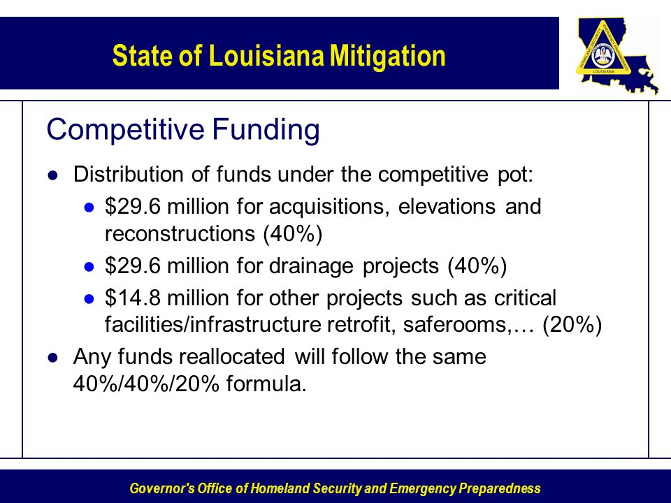 Governor s Office of Homeland Security and Emergency Preparedness State of Louisiana Mitigation Competitive Funding Distribution of funds under the competitive pot: $29.6 million for acquisitions, elevations and reconstructions (40%) $29.6 million for drainage projects (40%) $14.8 million for other projects such as critical facilities/infrastructure retrofit, saferooms,… (20%) Any funds reallocated will follow the same 40%/40%/20% formula.