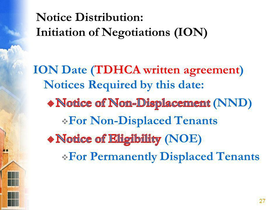 Notice Distribution: Initiation of Negotiations (ION) 27