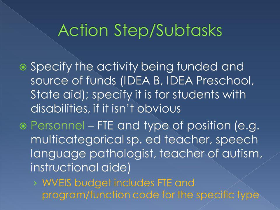 Specify the activity being funded and source of funds (IDEA B, IDEA Preschool, State aid); specify it is for students with disabilities, if it isnt obvious Personnel – FTE and type of position (e.g.