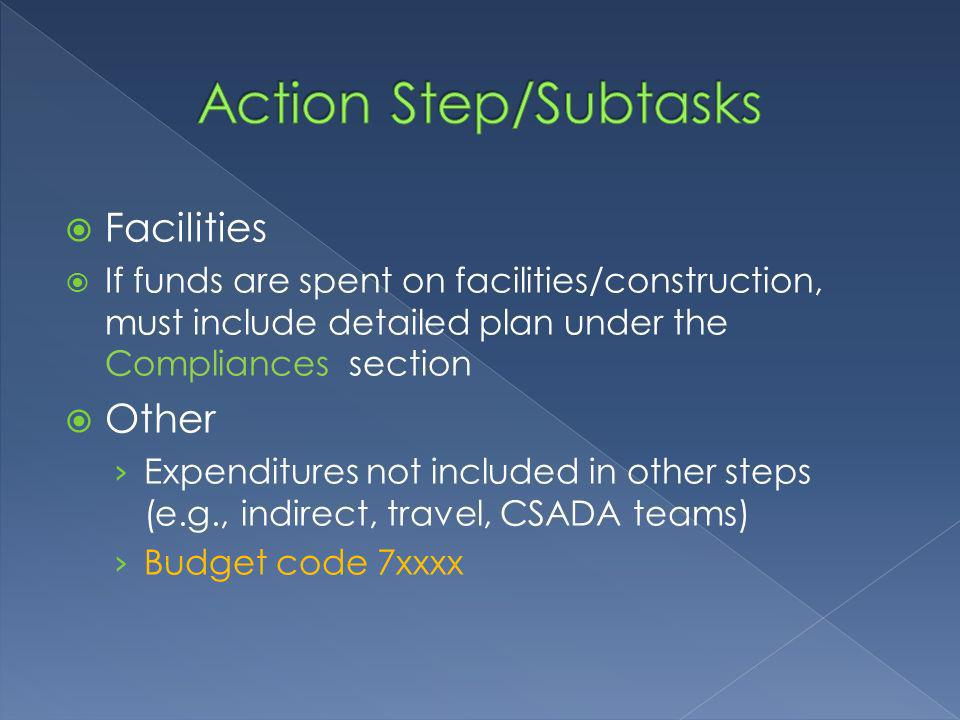 Facilities If funds are spent on facilities/construction, must include detailed plan under the Compliances section Other Expenditures not included in