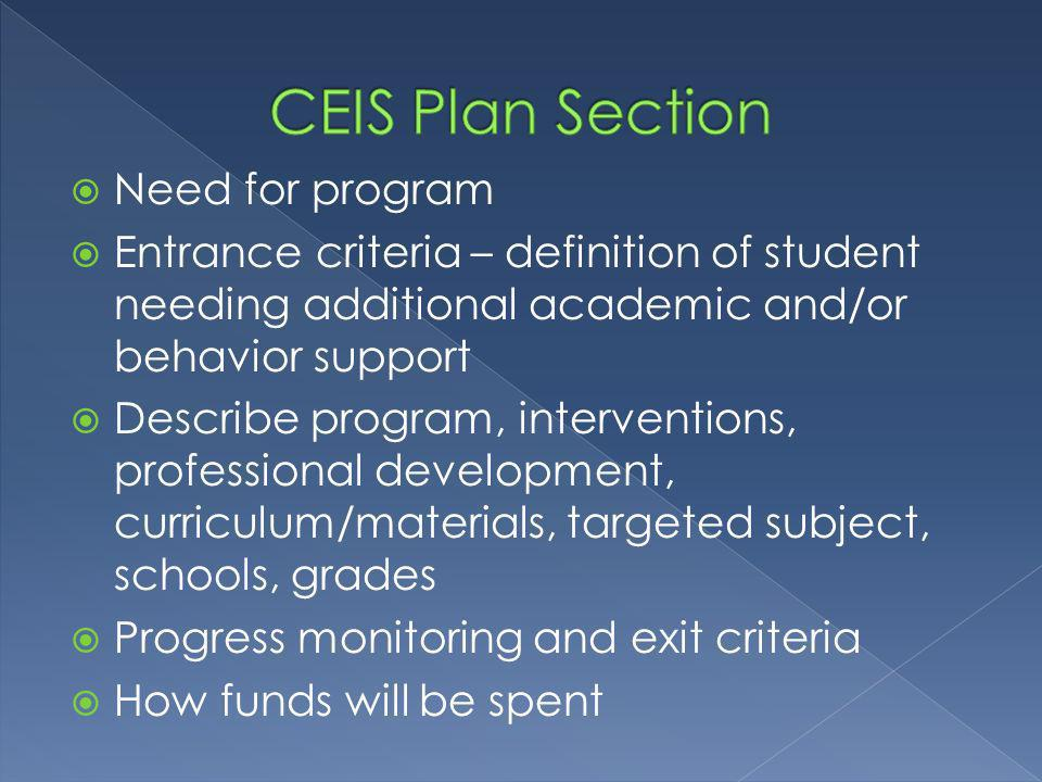 Need for program Entrance criteria – definition of student needing additional academic and/or behavior support Describe program, interventions, professional development, curriculum/materials, targeted subject, schools, grades Progress monitoring and exit criteria How funds will be spent