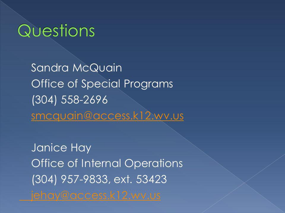 Sandra McQuain Office of Special Programs (304) Janice Hay Office of Internal Operations (304) , ext.