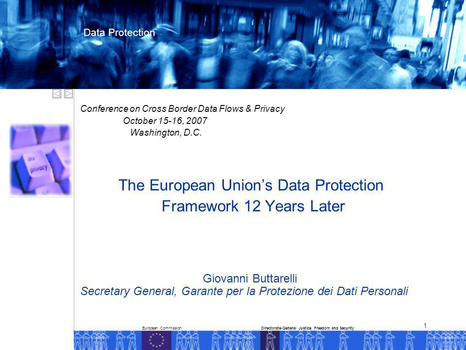 European CommissionDirectorate-General Justice, Freedom and Security Data Protection 1 Conference on Cross Border Data Flows & Privacy October 15-16, 2007 Washington, D.C.
