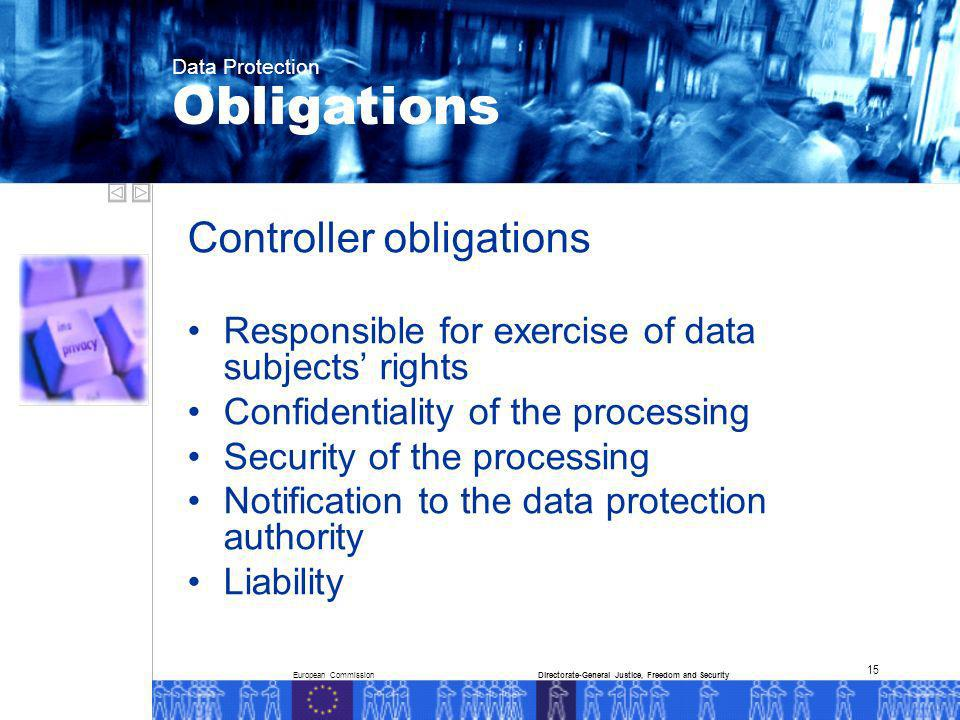 European CommissionDirectorate-General Justice, Freedom and Security Data Protection 15 Controller obligations Responsible for exercise of data subjects rights Confidentiality of the processing Security of the processing Notification to the data protection authority Liability Obligations