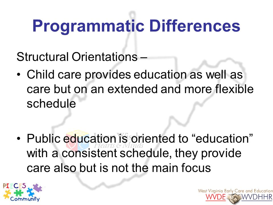 Programmatic Differences Structural Orientations – Child care provides education as well as care but on an extended and more flexible schedule Public