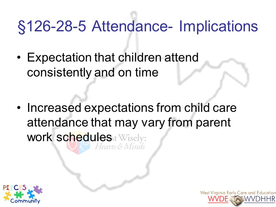 §126-28-5 Attendance- Implications Expectation that children attend consistently and on time Increased expectations from child care attendance that ma