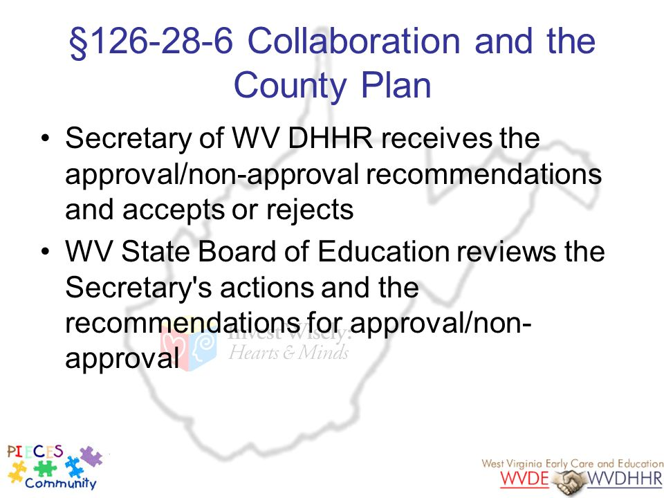 §126-28-6 Collaboration and the County Plan Secretary of WV DHHR receives the approval/non-approval recommendations and accepts or rejects WV State Bo