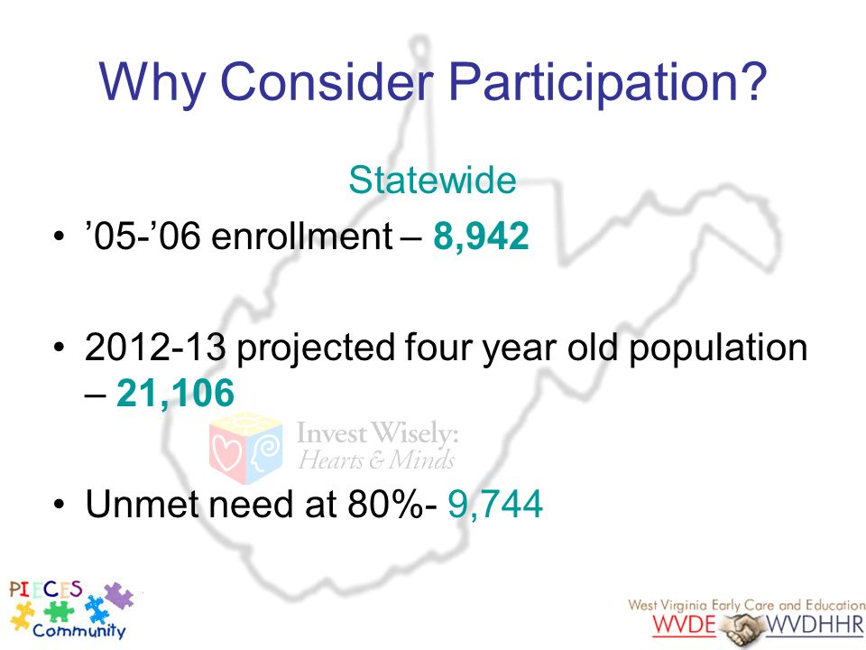 Why Consider Participation? Statewide 05-06 enrollment – 8,942 2012-13 projected four year old population – 21,106 Unmet need at 80%- 9,744