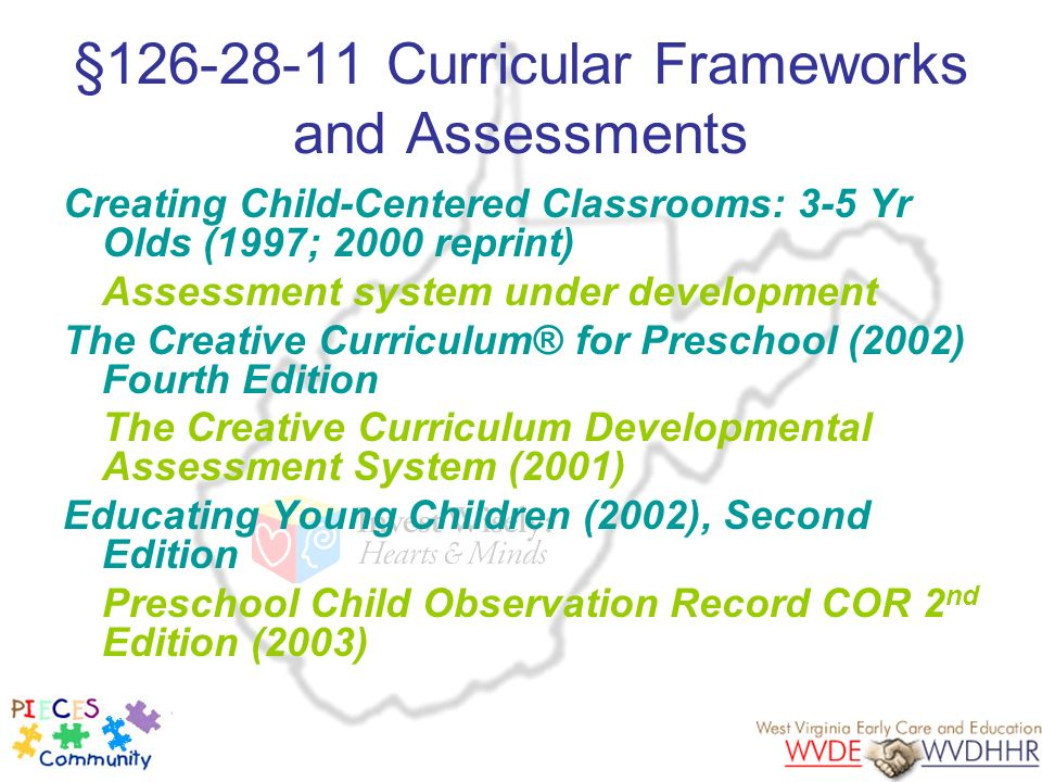 §126-28-11 Curricular Frameworks and Assessments Creating Child-Centered Classrooms: 3-5 Yr Olds (1997; 2000 reprint) Assessment system under developm
