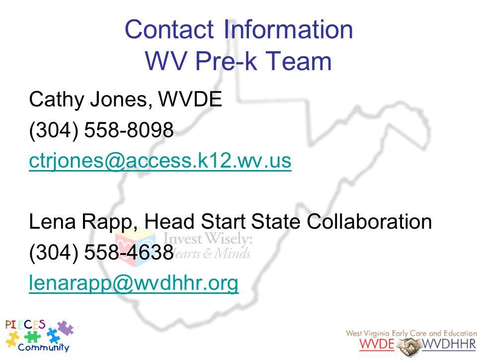 Contact Information WV Pre-k Team Cathy Jones, WVDE (304) 558-8098 ctrjones@access.k12.wv.us Lena Rapp, Head Start State Collaboration (304) 558-4638