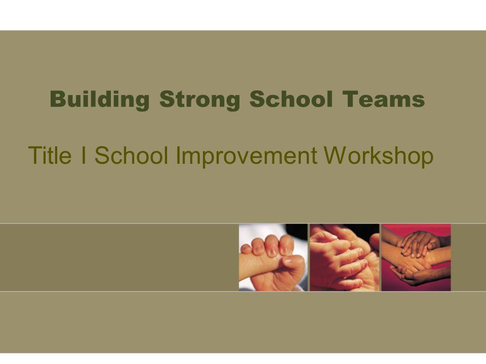 Building Strong School Teams Title I School Improvement Workshop