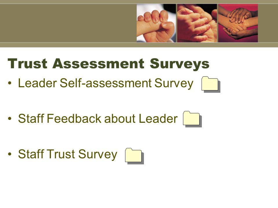 Trust Assessment Surveys Leader Self-assessment Survey Staff Feedback about Leader Staff Trust Survey