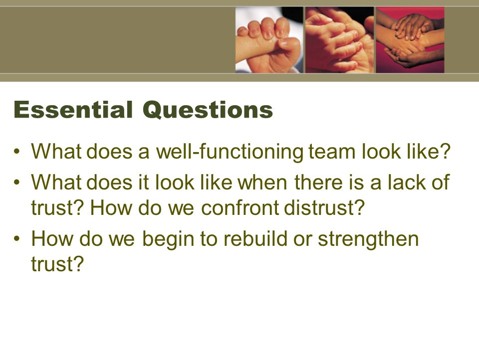 Essential Questions What does a well-functioning team look like.