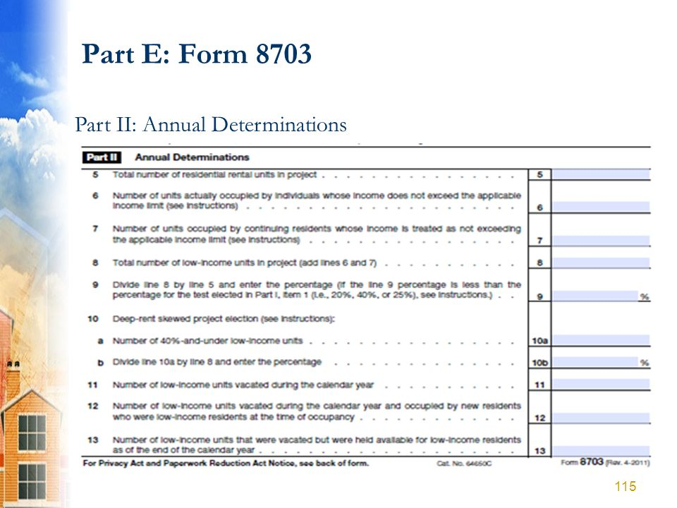 Part E: Form 8703 Part II: Annual Determinations 115