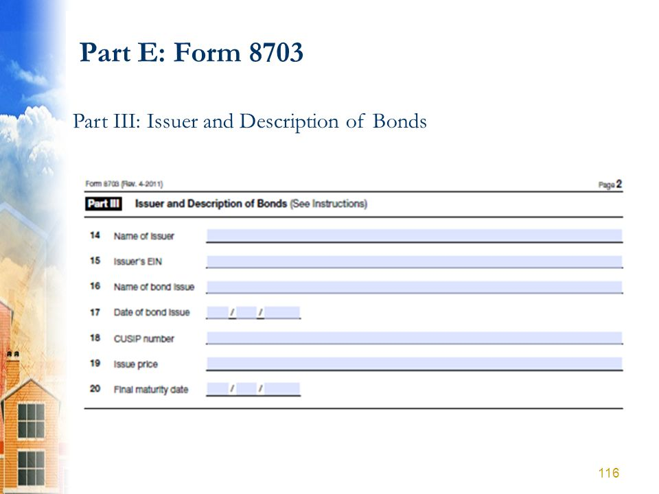 Part E: Form 8703 Part III: Issuer and Description of Bonds 116