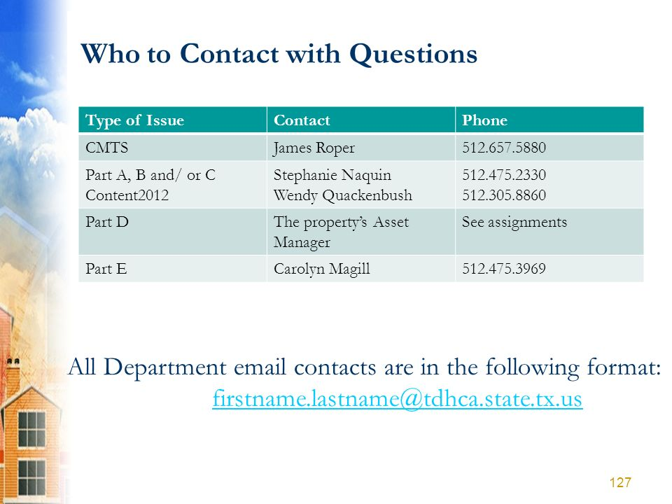 Who to Contact with Questions Type of IssueContactPhone CMTSJames Roper512.657.5880 Part A, B and/ or C Content2012 Stephanie Naquin Wendy Quackenbush
