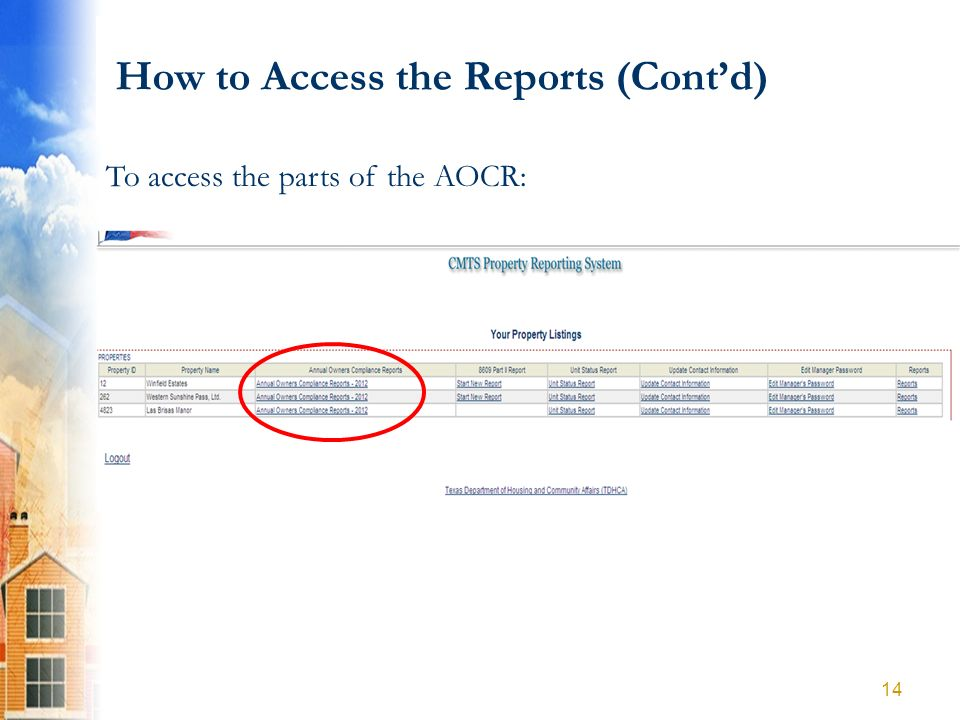 How to Access the Reports (Contd) To access the parts of the AOCR: 14