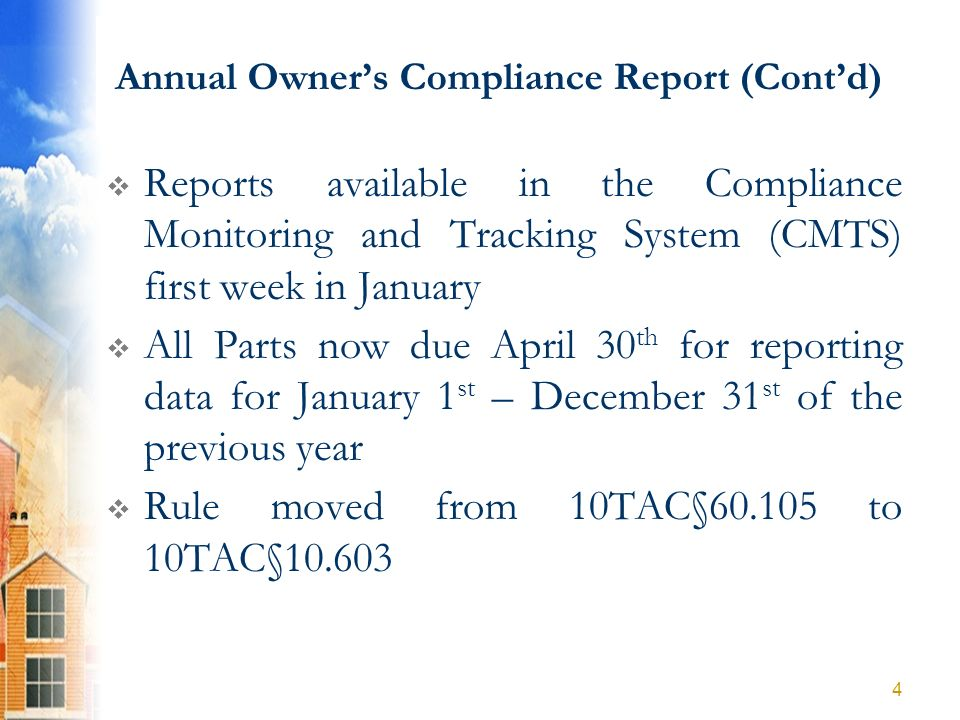Part A: Compliance Questions YES: If rents at all levels required by the LURA continuously met NO: Please give details 25 5.