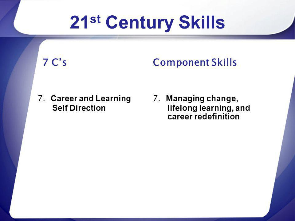 21 st Century Skills 7 Cs 7. Career and Learning Self Direction Component Skills 7. Managing change, lifelong learning, and career redefinition