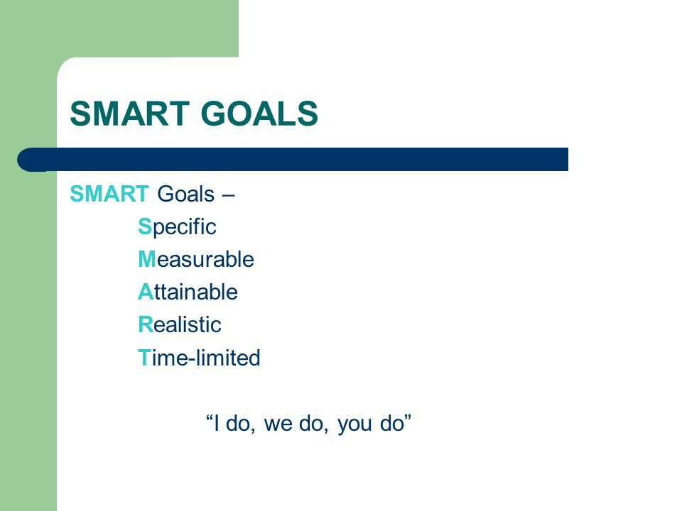 SMART GOALS SMART Goals – Specific Measurable Attainable Realistic Time-limited I do, we do, you do