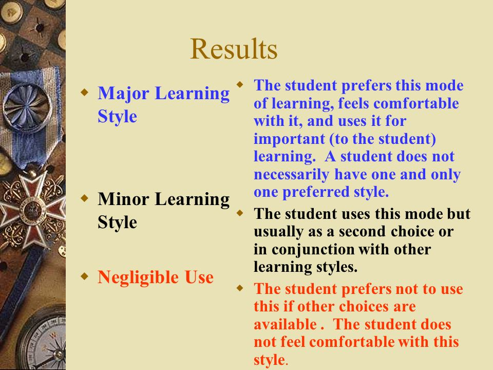 Results Major Learning Style Minor Learning Style Negligible Use The student prefers this mode of learning, feels comfortable with it, and uses it for