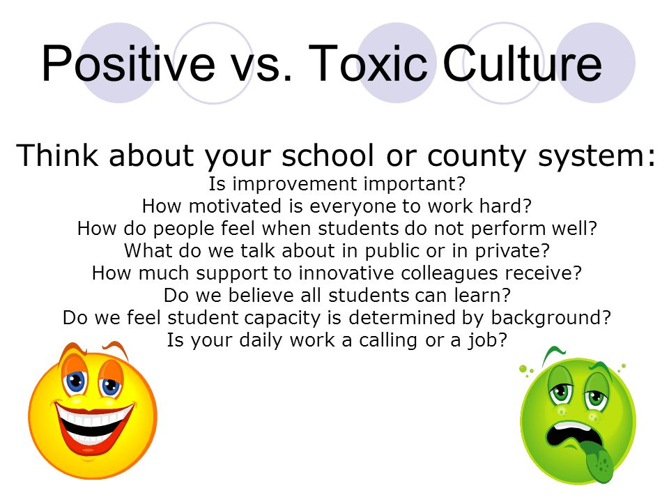 School Culture influences : 1.FOCUS-what people pay attention to 2.COMMITMENT-how they identify with the school 3.MOTIVATION-how hard they work 4.PROD