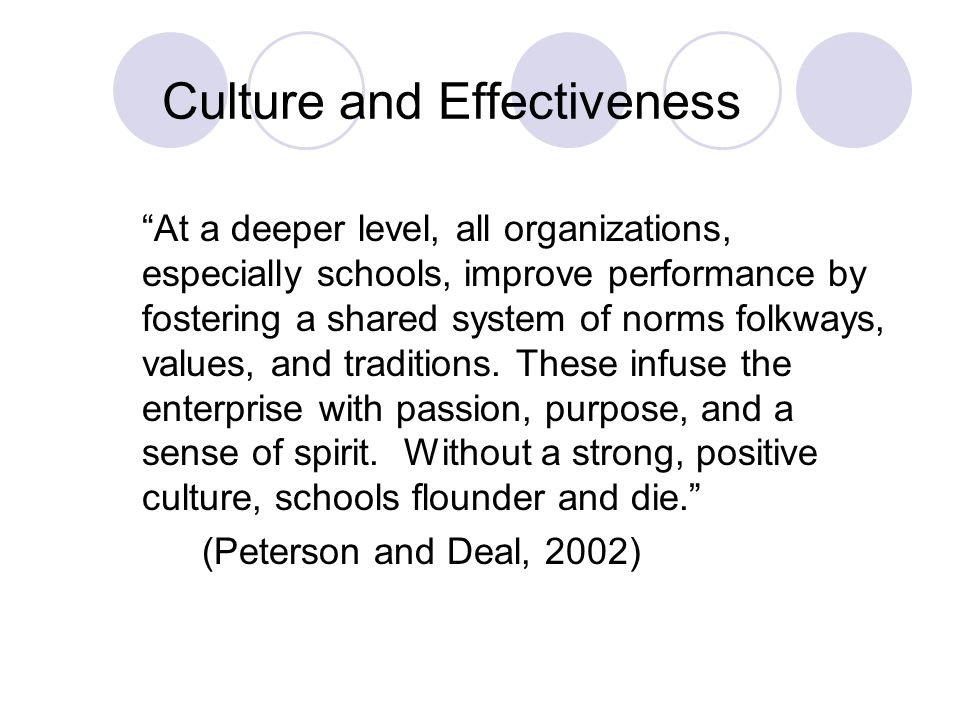Why is culture important? It influences and shapes the way teachers, students, and administrators think, feel, and act.