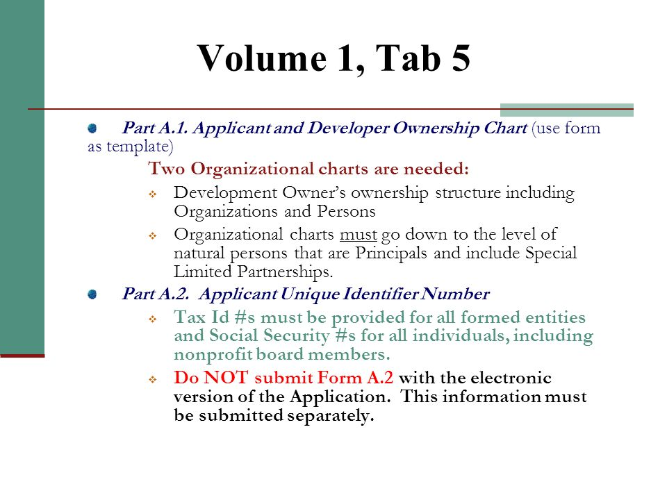 Volume 1, Tab 5 Part A.1. Applicant and Developer Ownership Chart (use form as template) Two Organizational charts are needed: Development Owners owne