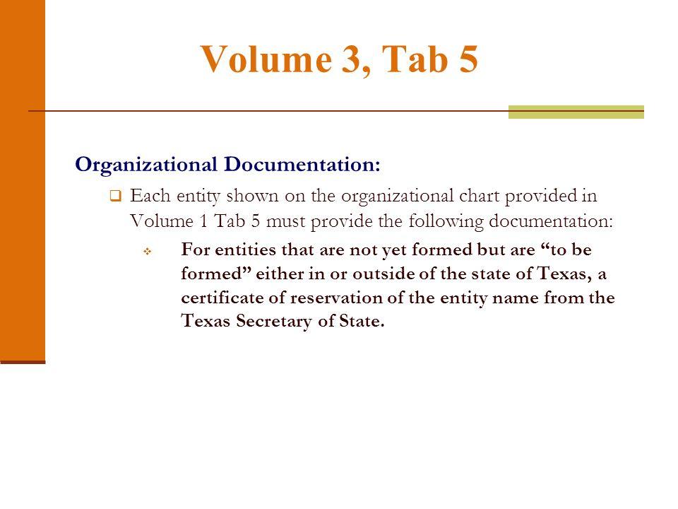 Volume 3, Tab 5 Organizational Documentation: Each entity shown on the organizational chart provided in Volume 1 Tab 5 must provide the following docu