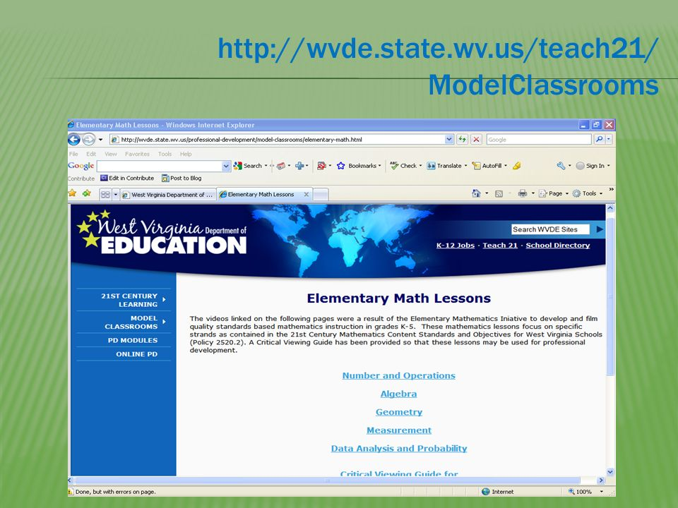 http://wvde.state.wv.us/teach21/ ModelClassrooms