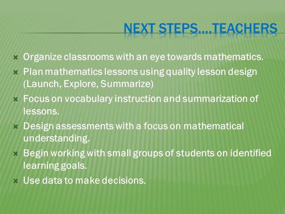 Organize classrooms with an eye towards mathematics.