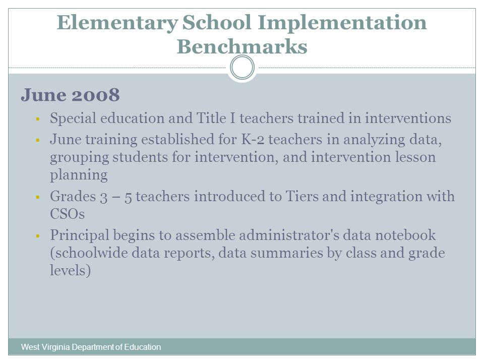 Elementary School Implementation Benchmarks West Virginia Department of Education June 2008 Special education and Title I teachers trained in interventions June training established for K-2 teachers in analyzing data, grouping students for intervention, and intervention lesson planning Grades 3 – 5 teachers introduced to Tiers and integration with CSOs Principal begins to assemble administrator s data notebook (schoolwide data reports, data summaries by class and grade levels)