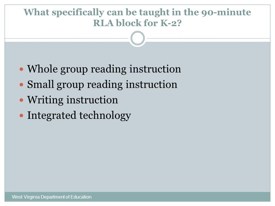 What specifically can be taught in the 90-minute RLA block for K-2.