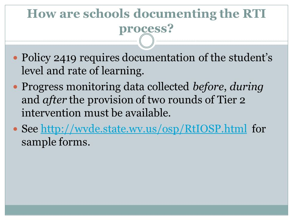 How are schools documenting the RTI process.
