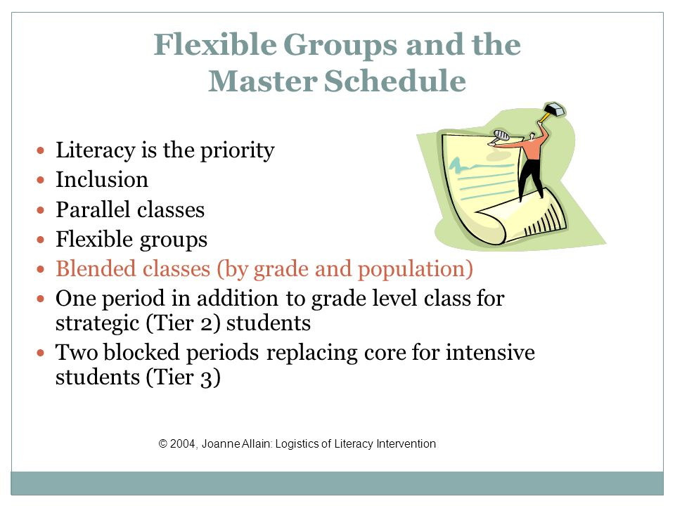 Flexible Groups and the Master Schedule Literacy is the priority Inclusion Parallel classes Flexible groups Blended classes (by grade and population) One period in addition to grade level class for strategic (Tier 2) students Two blocked periods replacing core for intensive students (Tier 3) © 2004, Joanne Allain: Logistics of Literacy Intervention